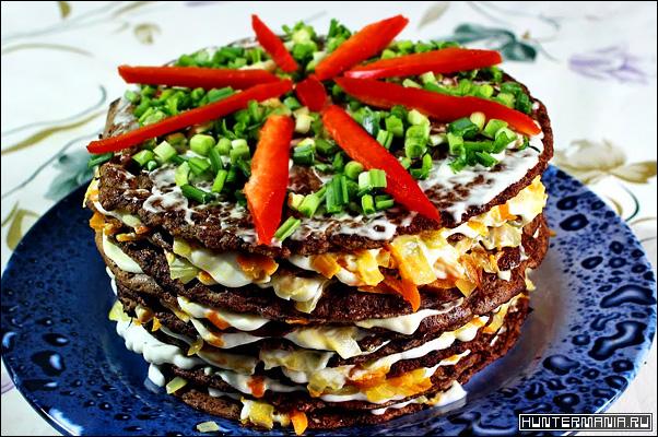 Закуска торт из куриной печени (рецепт)
