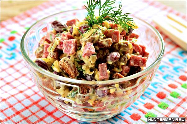 Салат с фасолью и ветчиной (рецепт)